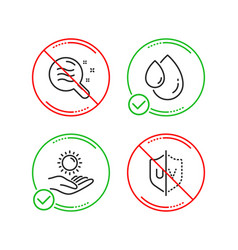 oil drop skin condition and sun protection icons vector image