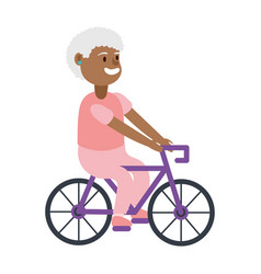 Old afro woman riding bicycle avatar character vector
