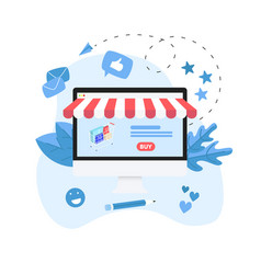 online shopping concept with shopping basket vector image