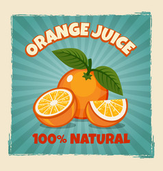 Orange fruit vintage poster vector