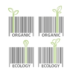 Organic ecology barcode symbol set vector image