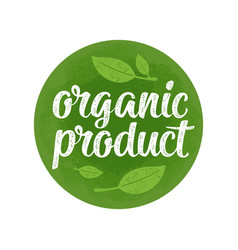 organic product lettering with leaf vector image