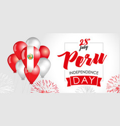 Peru independence day 28 july flag balloons vector