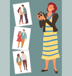 photographer with camera and love story photos vector image