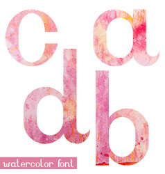 Pink spring watercolor font letters a b c d vector