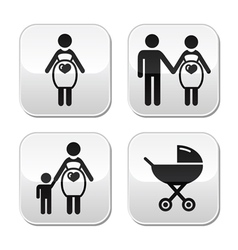 Pregnant woman buttons set vector image