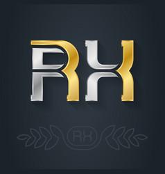 r and x - initials rx - abbreviation metallic 3d vector image