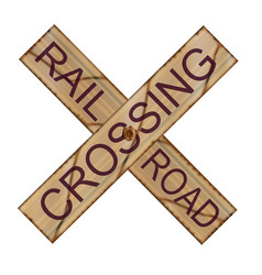 Rail crossing wooden sign vector