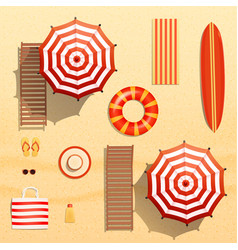 Realistic beach objects vector