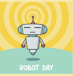robot day banner vector image