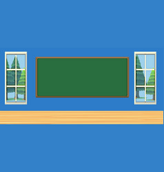 Room with green board and two windows vector