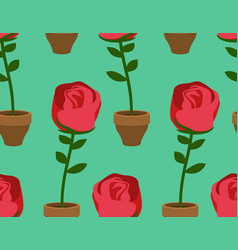 rose in pot seamless pattern home flower texture vector image