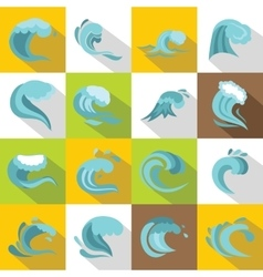 Sea waves icons set flat style vector image