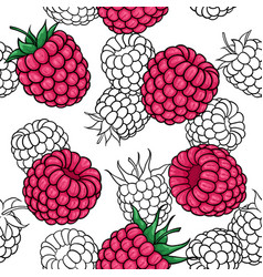 seamless pattern pink black and white raspberries vector image