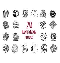 set 20 hand drawn textures vector image