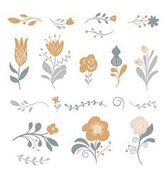 set graphic floral elements vector image