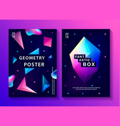 Set of abstract trendy cosmic posters vector