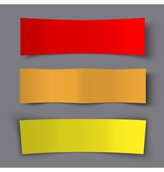 Set of Bended Paper Colorful Banners with shadows vector image