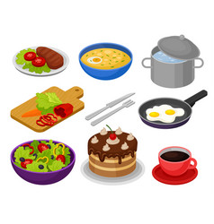 set of isometric food icons fried eggs vector image