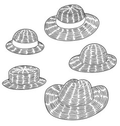 set of straw hat vector image