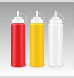 Set plastic mayonnaise mustard ketchup bottle vector