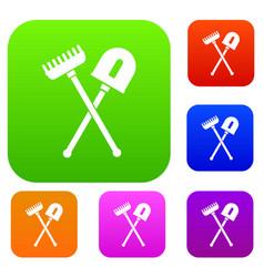 shovel and rake set collection vector image