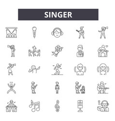 Singer line icons signs set linear vector