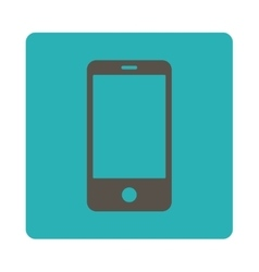 Smartphone flat grey and cyan colors rounded vector