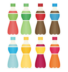 Soda water and juice or tea bottles set of vector
