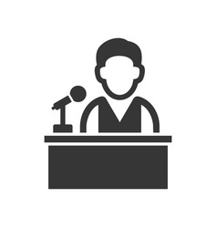 speaker man on tribune icon vector image