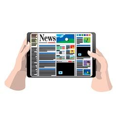 Tablet computer in hands vector image