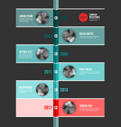 Teal and red infographic company timeline template vector