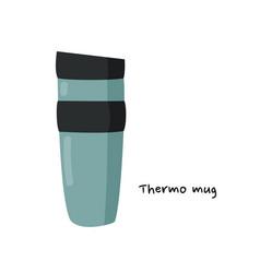Thermo mug simple green vector