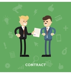 Two business partners signing a document vector