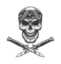 vintage bandit skull in bandana vector image