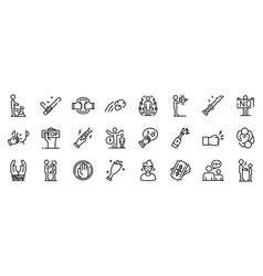 Violence icons set outline style vector