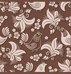 volumetric flower and bird seamless pattern vector image