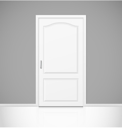 White realistic closed door in empty room interior vector