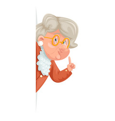 Wise advice look out corner grandmother talking vector