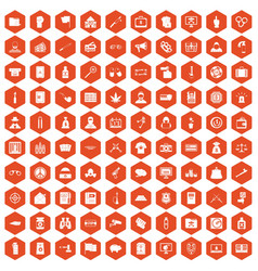 100 criminal offence icons hexagon orange vector image vector image
