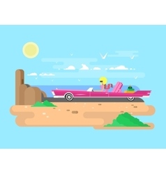 Blonde in a cabriolet on vacation vector image