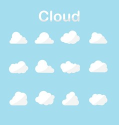 cloud icons set in many forms with blue sky vector image vector image