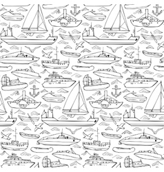Sea transportation doodle seamless pattern vector image