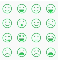 Set of green Emoticons Emoji and Avatar vector image vector image