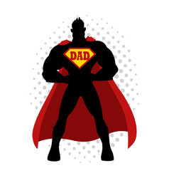 cartoon silhouette of a superhero with dad symbol vector image