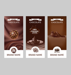 set realistic vertical chocolate banners vector image vector image