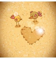 Cartoon birds with heart vector image