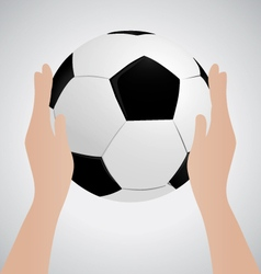 Hand Holding Soccer Ball up Sport Concept vector image
