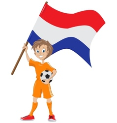 Happy soccer fan holds Holland flag cartoon vector image vector image