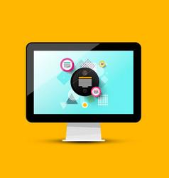 Modern web design on computer screen 3d pc vector
